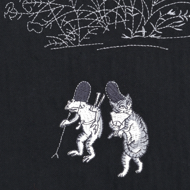 KY17-677/ドビーシャツ[播州織]/蛙と猫