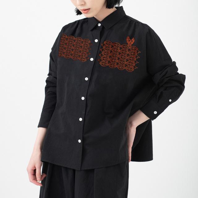 KY17-682/綿麻ワイドシャツ[播州織]/土器
