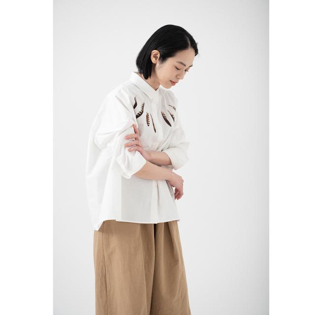KY17-708A/綿麻ワイドシャツ[播州織]/鷹の羽根(白)