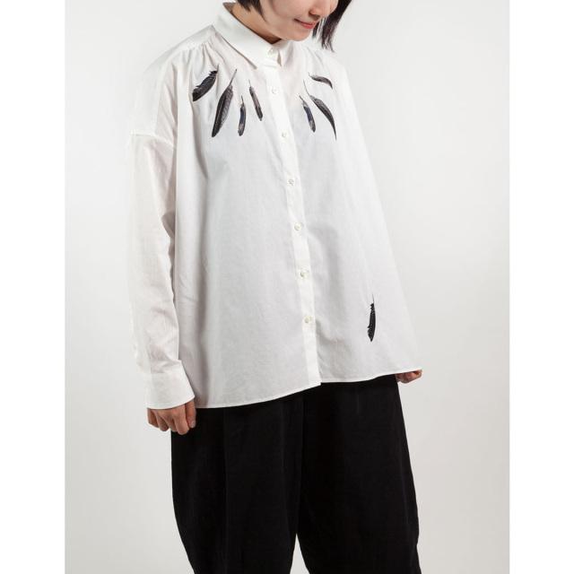 KY17-834/ ドットワイドシャツ[播州織]/からすの羽根(白)