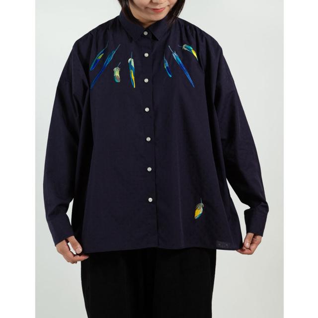 KY17-835/ドットワイドシャツ[播州織]/いんこの羽根(紺)