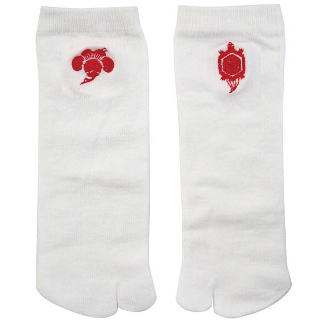 KY18-12W/足袋ソックス/鶴亀〈白〉/【4足までゆうパケット可】