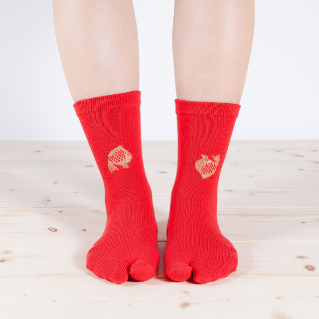 KY18-14R/Tabi Socks/Happy Seabream [Red]