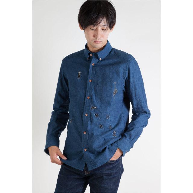 KY19-766IDM/メンズ綿麻インディゴシャツ/忍者