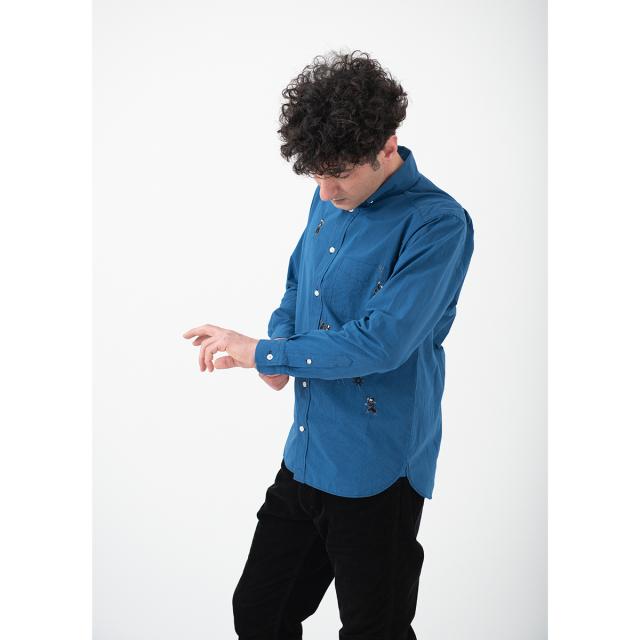 KY19-766N/メンズシャツ[播州織]/忍者(紺)