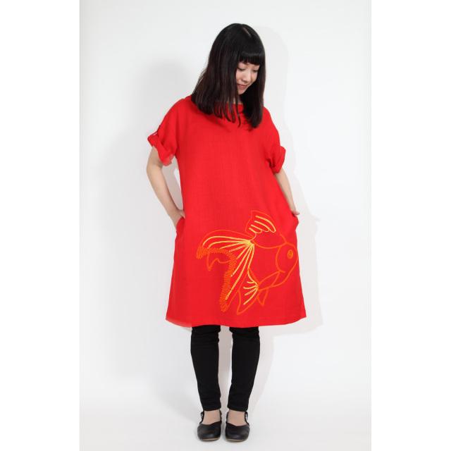 KY26-603/ロールアップスリーブワンピース/琉金〈赤〉