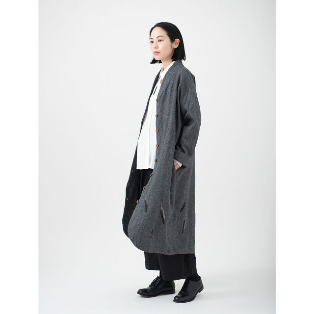 KY29-834G/Long Coat(Gray)/Crow Feathers