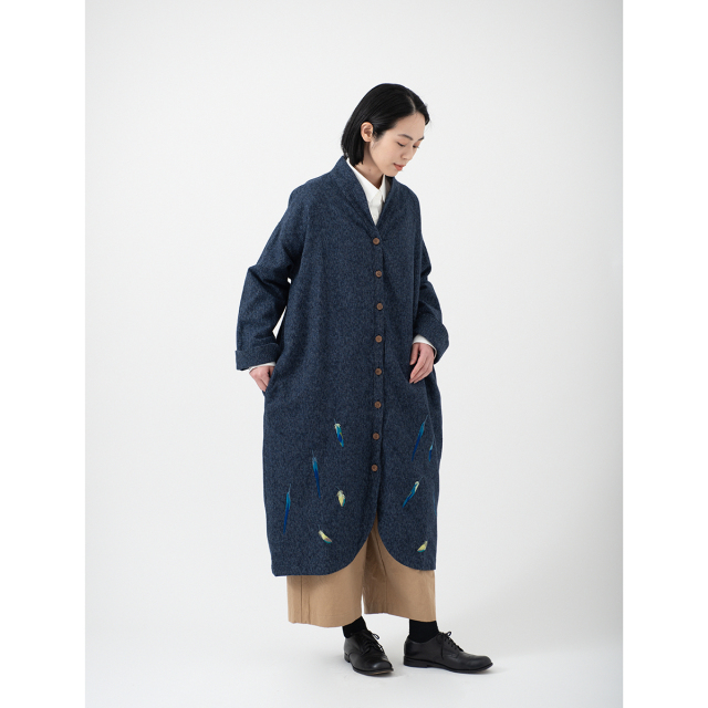 KY29-835N/Long Coat(Navy)/Parakeet Feathers