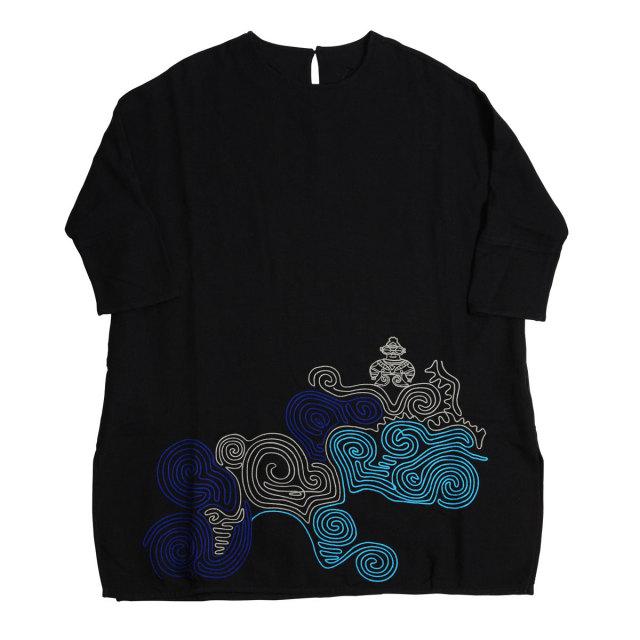 KY30-497B/ドルマンスリーブワンピース/遮光器土偶(黒)