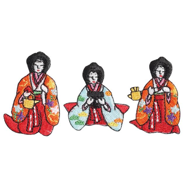 KY37-447/ワッペン/三人官女/さんにんかんじょ/【ゆうパケット可】