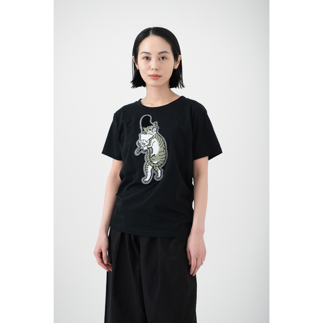 KY54-677/Tシャツ(黒)/猫