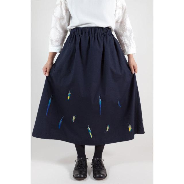 KY63-835/Skirt(Navy)/Parakeet Feathers