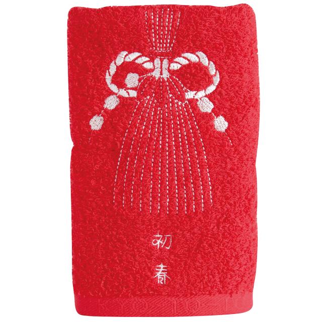 KY72-440/フェイスタオル/注連飾り〈赤〉