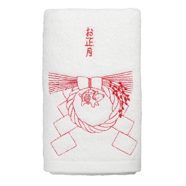 KY72-833/フェイスタオル/しめ飾り〈白〉