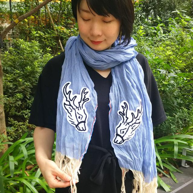 KY78-673A/からみストール/鹿青