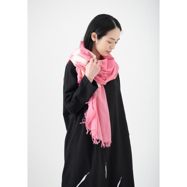 KY78-876/絞りストール[播州織]/梅