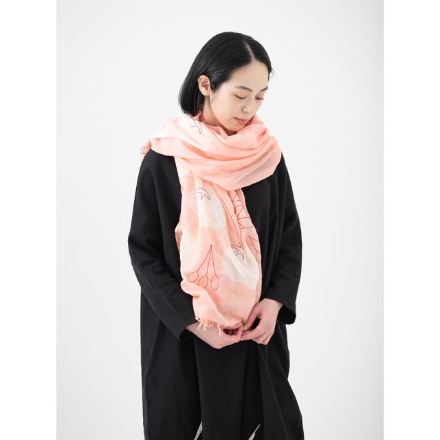 KY78-878/絞りストール[播州織]/枝垂桜
