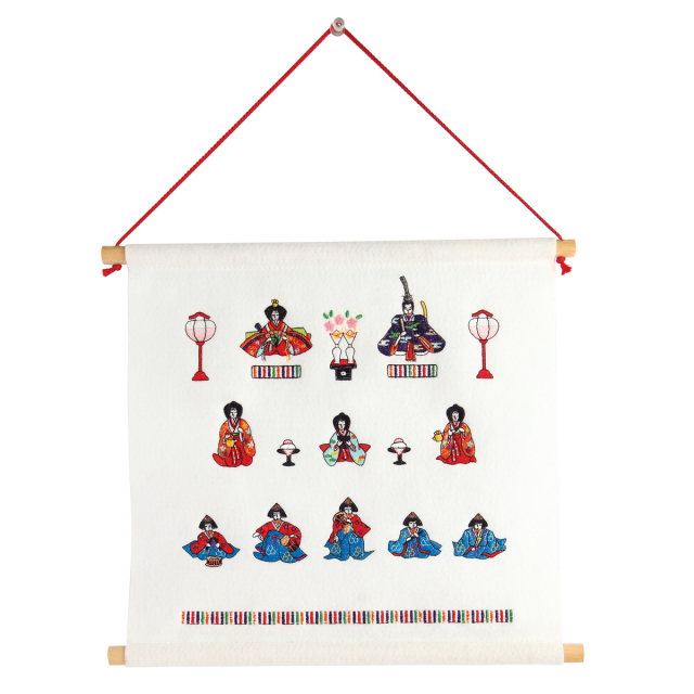 KY82-280W/Tapestry/Three Rows Hina Dolls, White