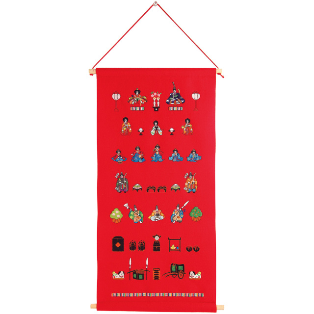 KY82-281R/Tapestry/Seven Rows Hina Dolls, Red