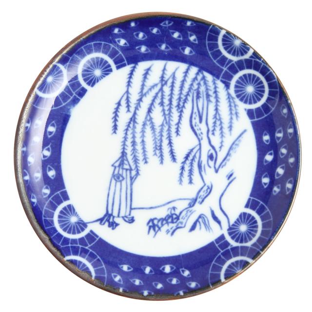 KY86-106/印判4寸小皿/傘化け/かさばけ