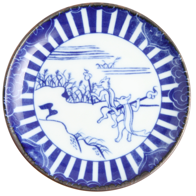 KY86-139/印判4寸小皿/狐火/きつねび