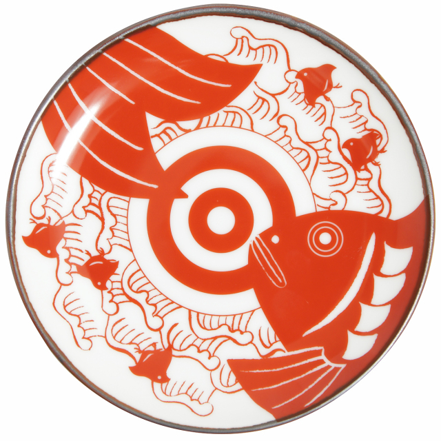 KY86-14/赤絵縁起小皿/波に鯛