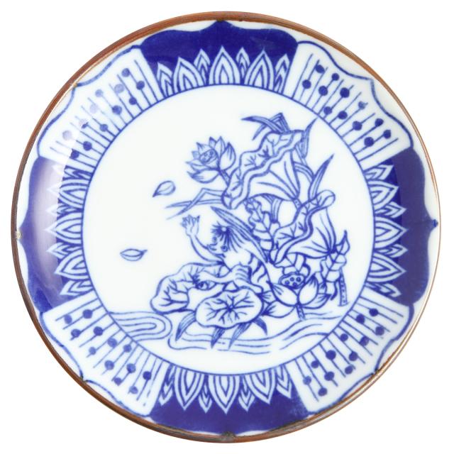 KY86-153/印判4寸小皿/河童/かっぱ