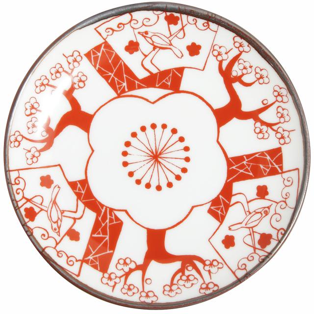 KY86-431/赤絵縁起小皿/梅に鶯