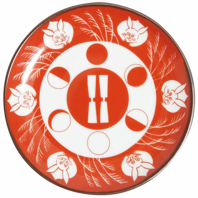 KY86-46/赤絵縁起小皿/月に兎