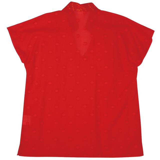 KY99-603/ノーカラーシャツ/琉金〈赤〉