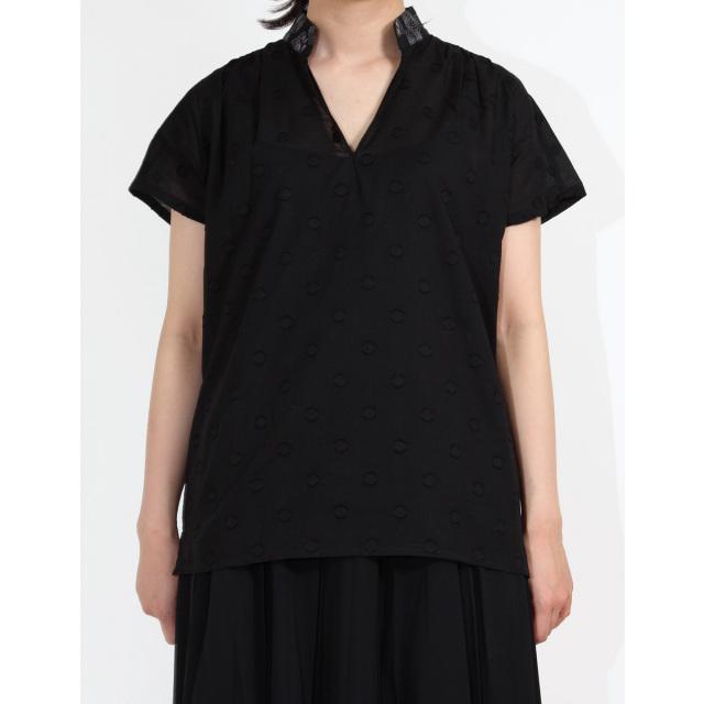KY99-614/ノーカラーシャツ/蝶尾〈黒〉