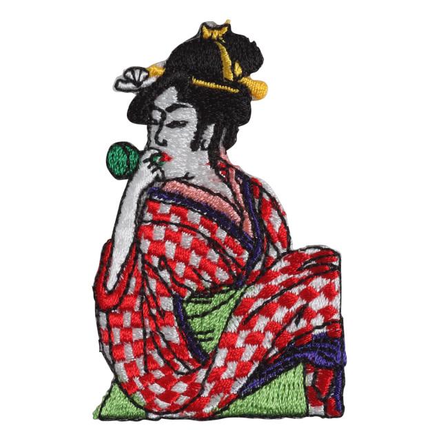 KYWS-802/ワッペン/ビードロを吹く女/【DM便可】