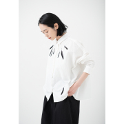 KY17-834A/綿麻ワイドシャツ[播州織]/からすの羽根(白)