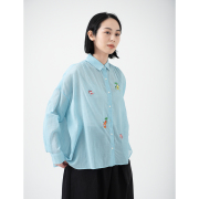 KY17-846S/ワイドクレープシャツ[播州織]/金魚づくし(スカイ)