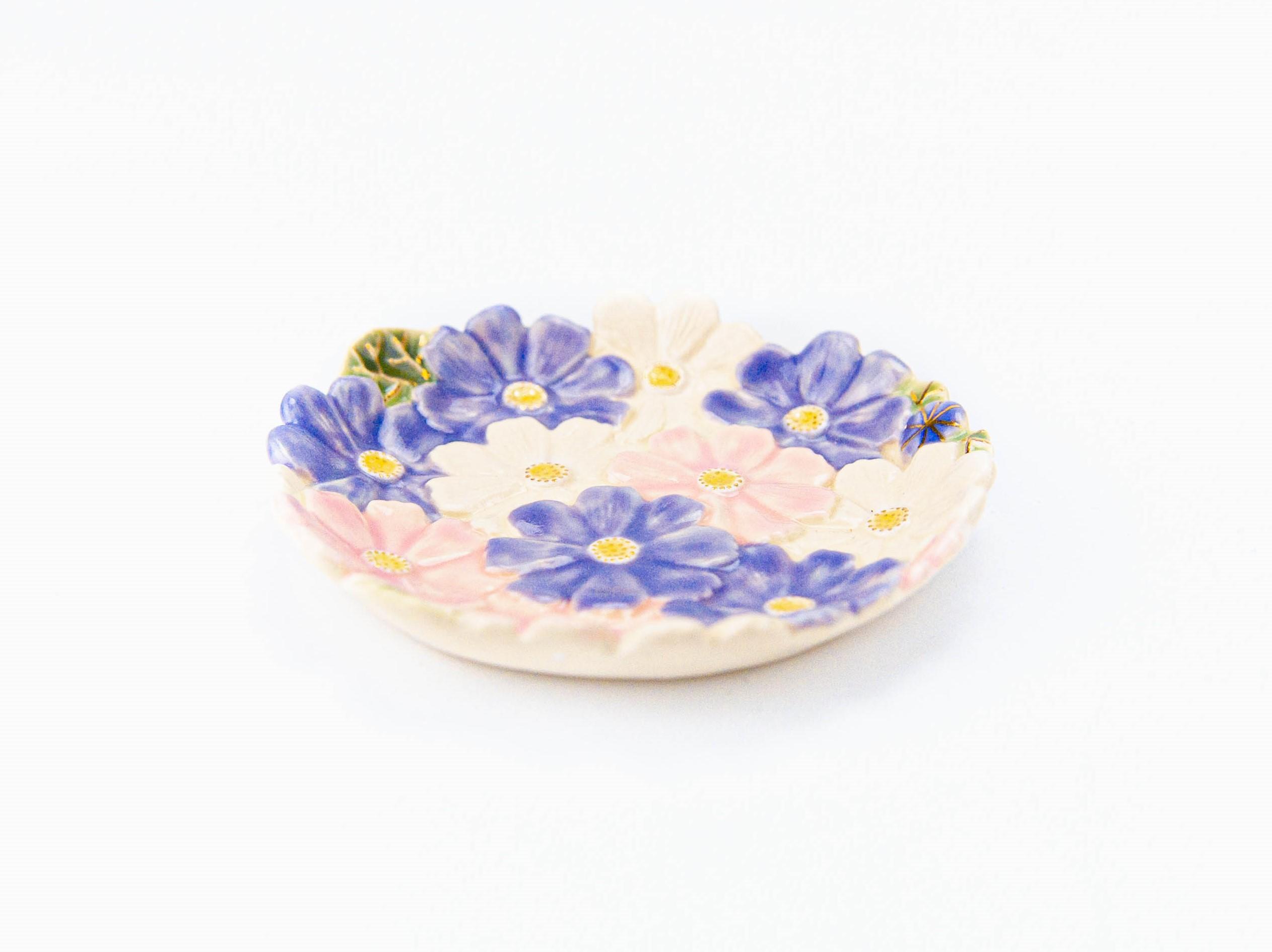 金彩 秋桜小皿(紫)