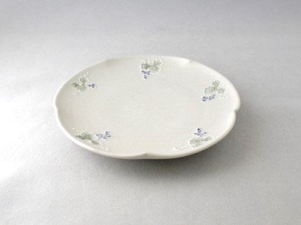 イッチン 輪花 5寸皿 (ぶどう)