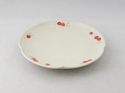 イッチン 輪花 5寸皿 (赤花)