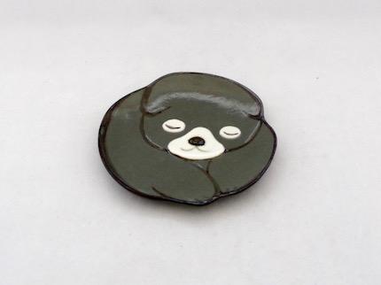 仔犬 豆皿 (黒)