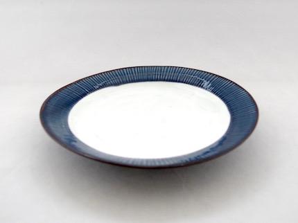 ルリ釉線刻 七寸皿