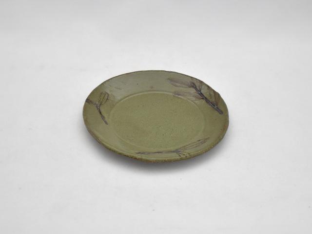 丸小皿 オリーブの葉 グリーン