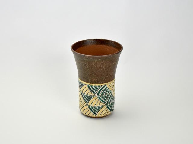 帯波紋ビアカップ 緑