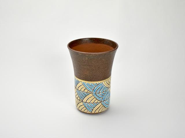 帯波紋ビアカップ 浅葱色