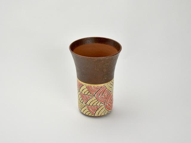 帯波紋ビアカップ 朱
