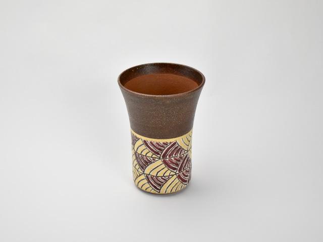 帯波紋ビアカップ 赤