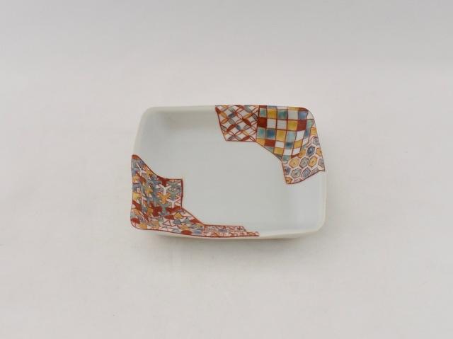 色絵 小紋角皿