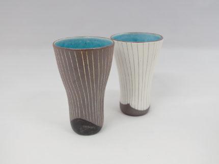 碧釉線刻 フリーカップ
