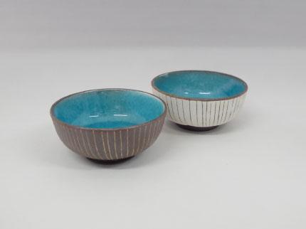 碧釉線刻 小鉢