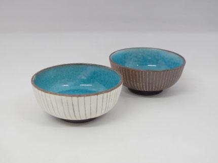 碧釉白線刻 小鉢