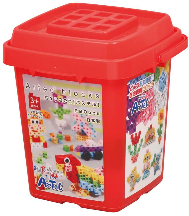 【教材 知育玩具 遊び創意】 ブロック バケツ 220 パステル
