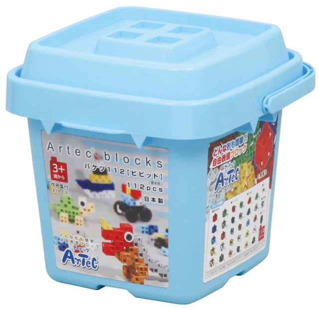 【教材 知育玩具 遊び創意】 ブロック バケツ112 ビビッド(基本色)